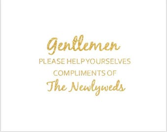 PRINTABLE Set of Two 8x10 GOLD FOIL Ladies and Gentlemen Bathroom Signs