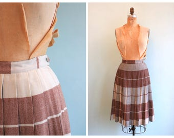 Vintage 1950's Reversible Pleated Wool Skirt | Size Medium