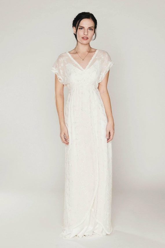 Beaded Embroidered Silk Chiffon Boho Style Bridal Gown