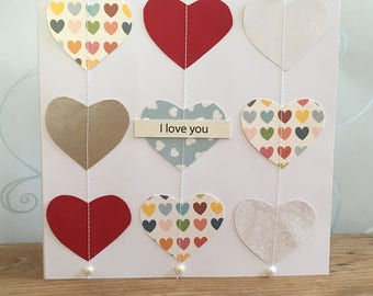 Valentines card. Handmade Valentines card. I love you card