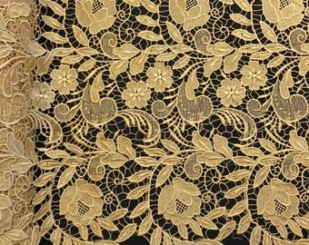 """Gold Tulip Guipure French Venice Lace Embroidery 52"""" inches wide many colors"""