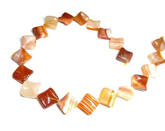 Natural Red Carnelian Agate Diagonal Square Beads - Carnelian Agate Gemstone Beads - Full Strand - Jewellery Supplies