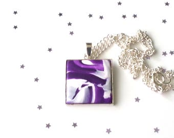 Purple swirl square pendant - polymer clay necklace - purple necklace - gift for her