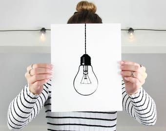 "Printable Art ""Light Bulb Print"" Light Bulb Wall Art Light Bulb Art Light Bulb Prints Gallery Wall Art Gallery Wall Prints Cute Home Decor"