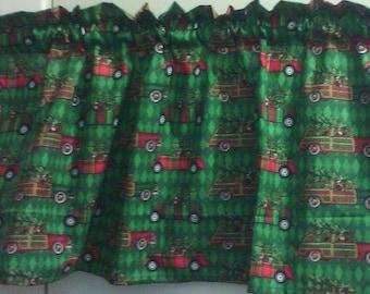 Window Curtain and Valance Christmas Tree Santa Car