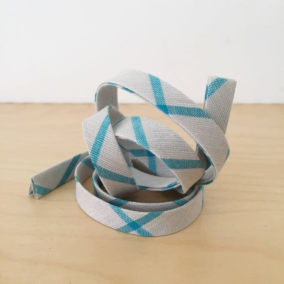 "Bias Tape in Organic Cloud 9 Fabrics Plaid cotton- 1/2"" double-fold binding- Aqua blue and gray- 3 yard roll"