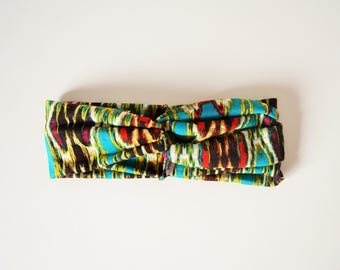 Headband bandeau multicolor ethnique in jersey for woman boho style, retro and hippie