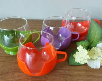 Set of 4, tea cups, teacup 70s, Melitta tea cup, Melitta, plastic fantastic, tea cups with Holder, 70s, high tea, camping