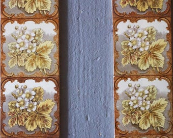 Set of 10 antique 1890s Victorian flowers and leaves tiles