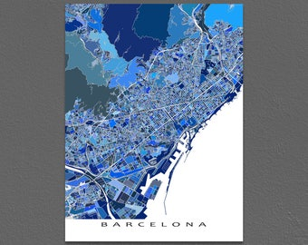 Barcelona Print,  Barcelona Spain Map, Barcelona Art, Blue City Maps