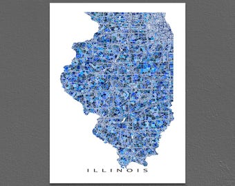 Illinois Map Print, Illinois State Art, IL Wall Poster