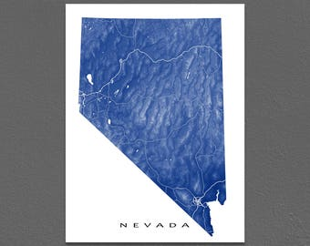 Nevada Map Print, Nevada State Art, NV, USA, Las Vegas, Reno