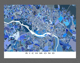 Richmond Virginia, Richmond Map Print, Richmond VA USA Cityscape