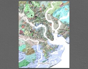 Charleston Map Print, Charleston SC, City Map Art, South Carolina, Colorful