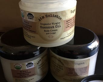 Organic Coconut Oil Body Cream 4oz 100% Vegan
