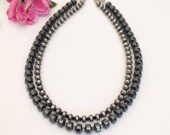 Multi Strand Black Necklace Black Statement Necklace Beaded Black Silver Necklace Beaded Contemporary Necklace Geometric Necklace Gift Idea