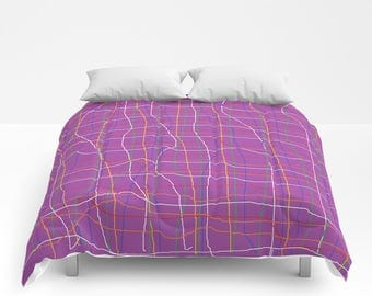 Abstract Purple Plaid Duvet Abstract Purple Plaid Comforter Twin Twin XL Full Queen King