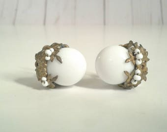 Pair of Miriam Haskell Costume Jewelry Earrings