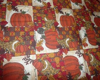 1 Yard Harvest Time Pumpkin Cornucopia Cotton Fabric Remnant