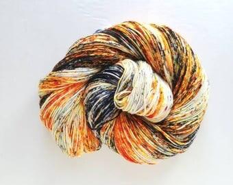Smashing pumpkins  ,  blacklight/UV reactive, hand painted indie yarn