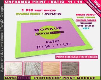 Unframed Print Ratio 11:14 PSD Mockup | Movable Empty Landscape Print UFP-1114-L | Wood Floor | 5.5x7 | 11x14 | 22x28