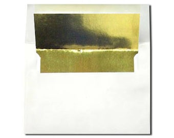 20 White with Gold Foil Lined Envelopes - A7 and A2 Sizes