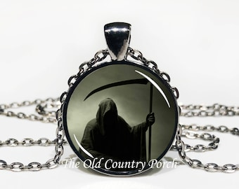 Grim Reaper -Glass Pendant Necklace/Halloween Necklace/Gift for him