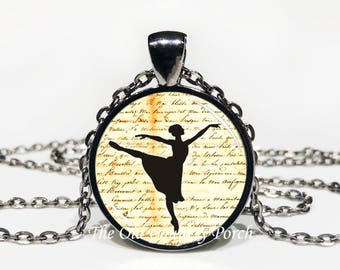Ballet Dancer with script - Glass Pendant Necklace with Chain -ballerina, dance, Mother's Day Gift, Friend Gift, birthday gift, Easter Gift,