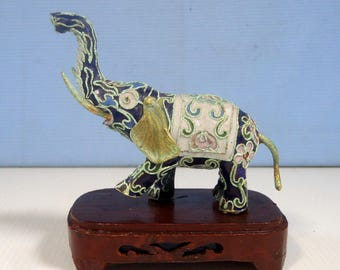 Vintage cloisonne elephant stand hand crafted Beijing circa 1940s retired used