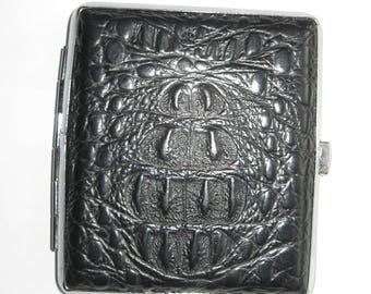 Vintage Cigarette Case. Metal and Leatherette.