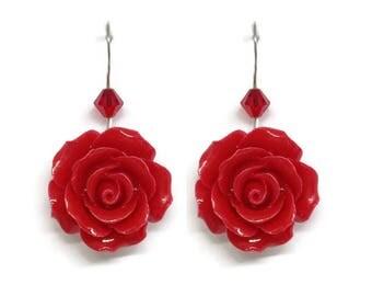 Red Roses Swarovski Dangling Earrings