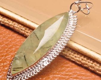 "Natural Prehnite silver plated 2.5"" pendant (#J1626)"