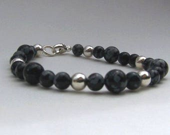 Snow Flake Obsidian and Sterling Silver Beaded Bracelet with Lobster Claw Closure