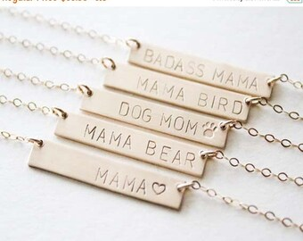 ON SALE Mama Bear Necklace / Dog Mom Necklace / Gold mom Necklace/ Mama Bird Necklace / Mommy Gift / Mother Necklaces Handstamped / Badass m