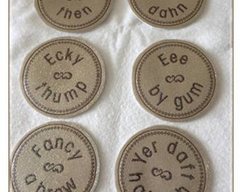 ITH Yorkshire Sayings Coasters Set of Six Machine Embroidery Design Pattern for 4x4 Hoop by Titania Creations. Instant Download