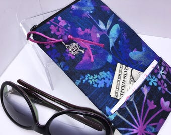 Gorgeous ROOMY Eyeglasses Case, Extra WIDE Eyeglass Case, Zip Top Glasses Pouch, Sunglasses Pouch, Soft Glasses Case