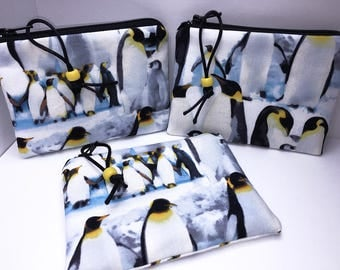 Penguin Coin Purse, Penguin Change Purse, Penguin Small Zipper Pouch, Penguin Coin Pouch