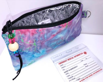 Psychedelic EpiPen Case, Insulated Diabetic Suppy Bag, Travel Medical Bag, Insulated Snack Pouch, EpiPen Pouch