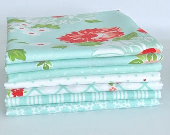 Fat Quarter Bundle The Good Life by Bonnie and Camille for Moda- 7 Fabrics Aqua