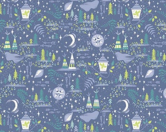 1 Yard Neverland by JIll Howarth for Riley Blake Designs- 6573 Blue Neverland Lantern