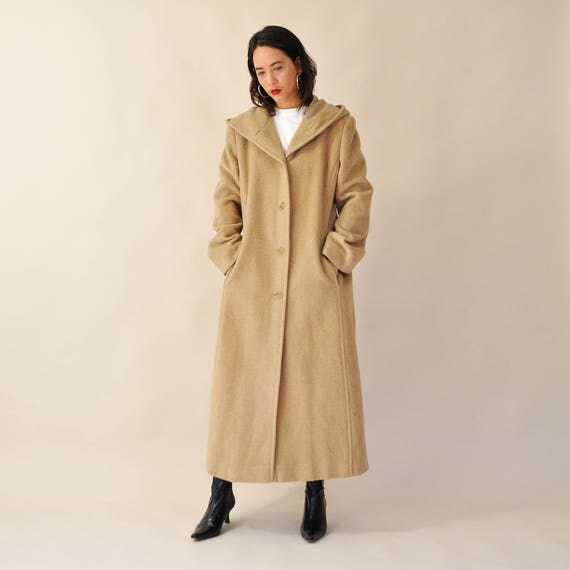 Long Hooded Coat Vintage Maxi Coat Camel Wool Coat Full