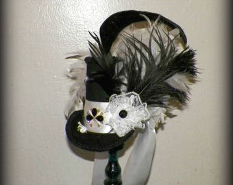 Mini Top Hat White Black Gothic Fascinator Steampunk  Gothic Cosplay Costume Bridal  Tea Party