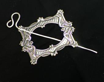 Shawl Pin Dragon SIlver Mimimalistic Brooch Viking Vintage Hammered Minimalist Celtic Cloak Style Scarf Pin  Stick Pin