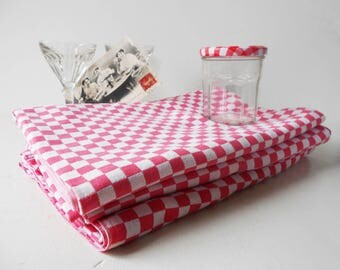 Vintage French Restaurant Tablecloth Red White Checked Bistro Tablecloth  Double Woven