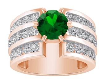 Rose Gold Engagement Ring 2.50 Ctw Emerald & Diamond 3-Stone Engagement Wedding Ring In 14K
