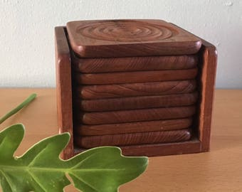 Darling Midcentury Modern set of 8 Goodwood Thailand square teak coasters in matching stand perfect for tropical Old Florida home bar!