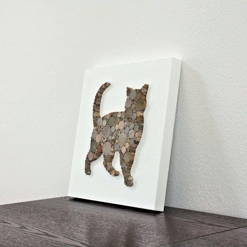 Rustic modern wall decor cat decor minimalist animal decor for Modern cat accessories
