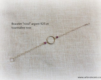 """""""Round"""" bracelet 925 sterling silver and pink tourmalines"""