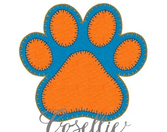 Tiger paw embroidery design, Tiger paw embroidery file, Vintage stitch tiger paw, Tiger paw design, Tigers embroidery design