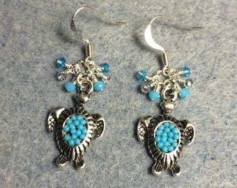 Turquoise and silver enamel turtle charm earrings adorned with tiny dangling turquoise and silver Chinese crystal beads.